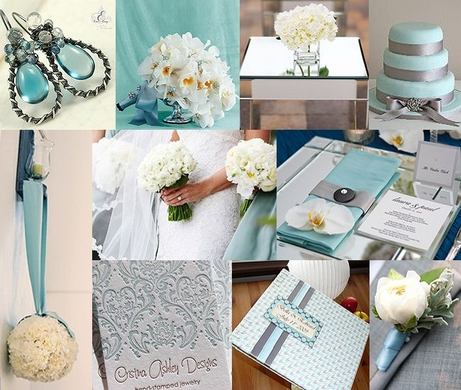 aqua gray silver wedding