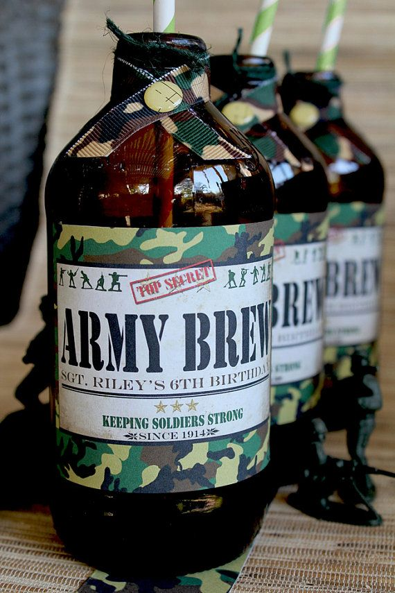Army Men Drink Bottle Labels - DIY PRINTABLE FILE - Boys Birthday Party