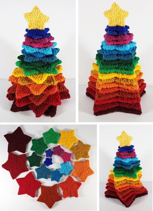 Free Knitting Pattern zum Stapeln von Stars Tree – Strickmuster für neun verschiedene …