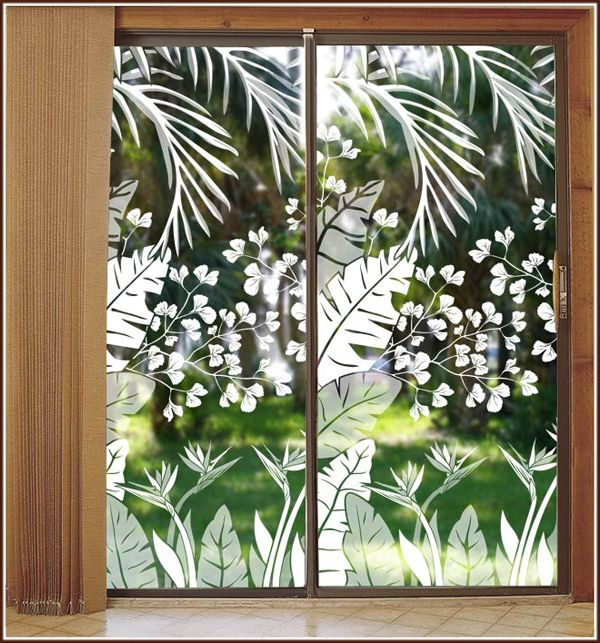 Tropical Oasis Etched Glass See Thru