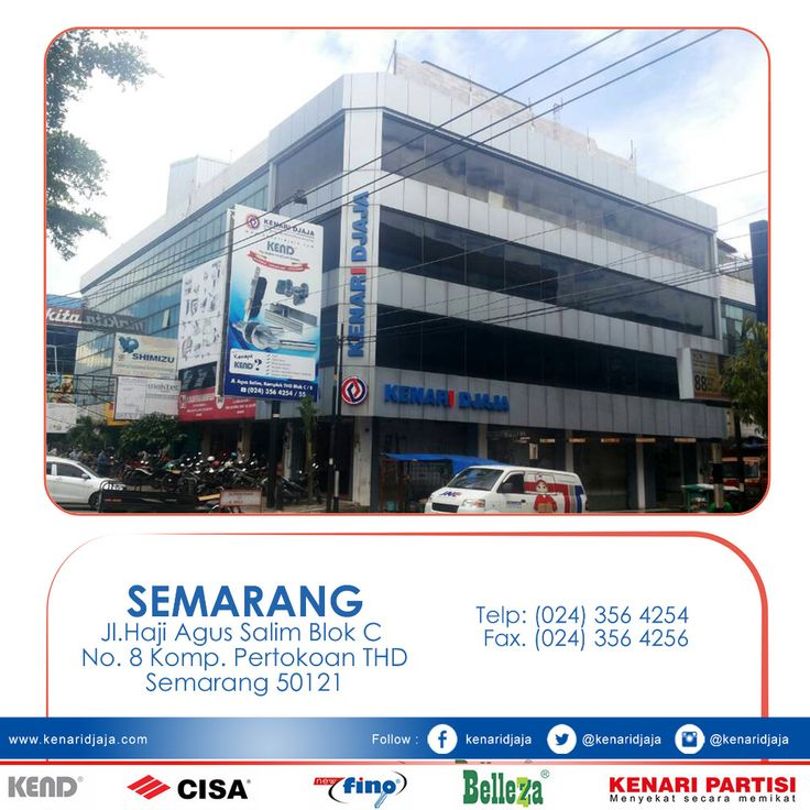 Sahabat KENARI DJAJA yang berada di Semarang, Dapatkan segera produk-produk berkualitas hanya di KENARI DJAJA. kami ada di : Jl. Agus Salim, Komplek THD Blok C/8 Telp : (024) 356 4254/55, Fax : (024) 356 4256 SEMARANG  [ K E N A R I D J A J A ] PELOPOR PERLENGKAPAN PINTU DAN JENDELA SEJAK TAHUN 1965  SHOWROOM :  JAKARTA & TANGERANG 1 Graha Mas Kebun Jeruk Blok C5-6 Telp : (021) 536 3506, Fax : (021) 530 0592  2 Jl. Pinangsia Raya 16 B-C Telp : (021) 690 5280, Fax : (0..