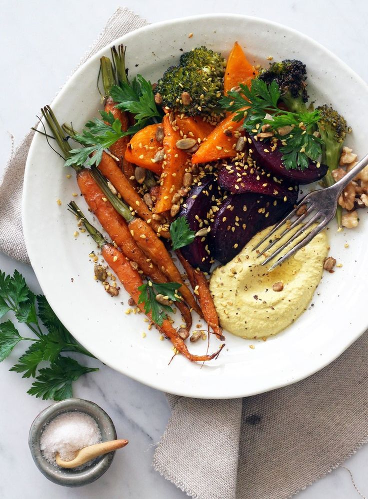 Roasted Autumn Vegetables with Raw Walnut Curry Cream