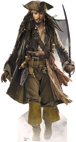 Capt Jack Sparrow - Sword - Johnny Depp - Pirates of the Caribbean Lifesize Cardboard Cutout
