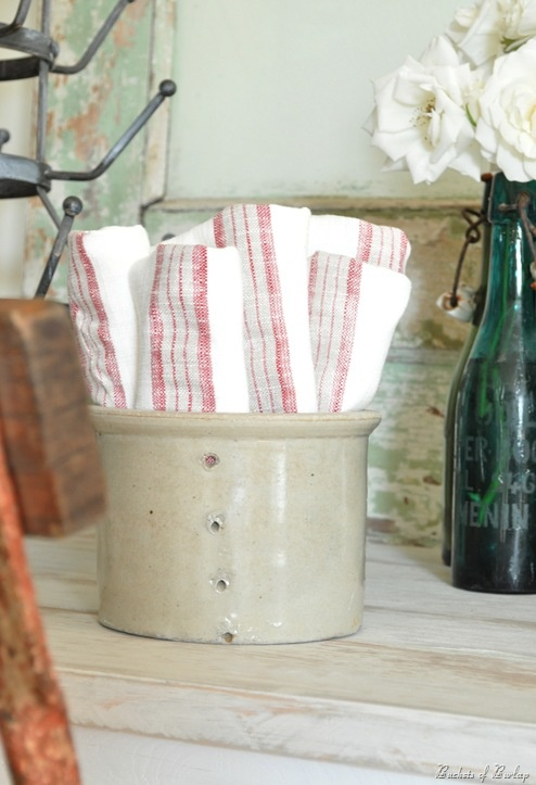 crock for towels in bathroom or kitchen?
