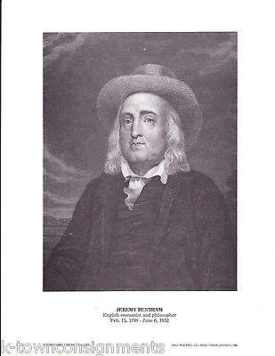 Jeremy Bentham English Economist & Philosopher Vintage Portrait Gallery Print