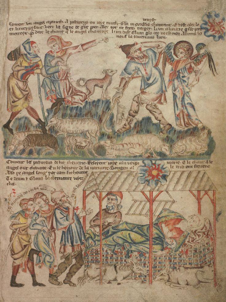 Благовестие пастухам. Поклонение пастухов. Кормление Богомладенца; Англия; XIV в.; памятник: Библия (Bible ('Holkham Bible Picture Book'). 1327-1335гг