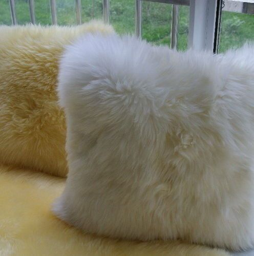 "18"" Sheepskin Long Wool Down Pillows Home Car Decor Multicolor Available Zh08"