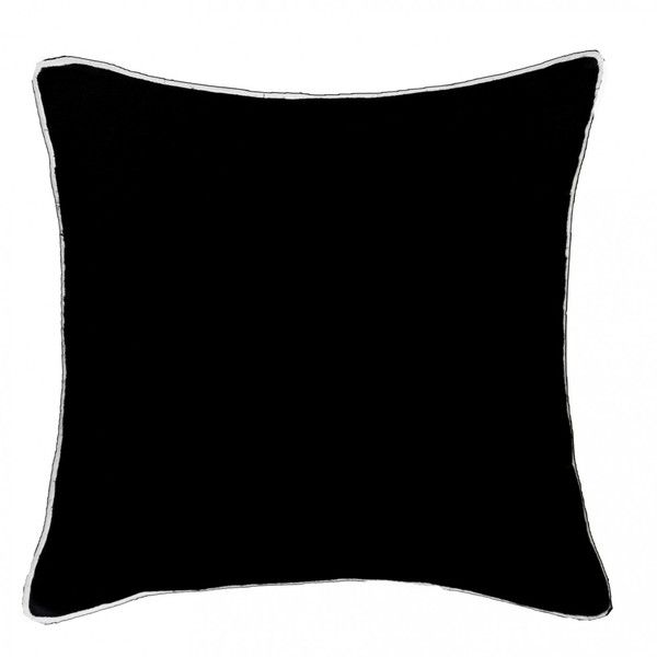 Piped Linen Black with White Cushion ($105) ❤ liked on Polyvore featuring home, home decor, throw pillows, black white throw pillows, white linen throw pillows, textured throw pillows, contemporary throw pillows and black and white toss pillows