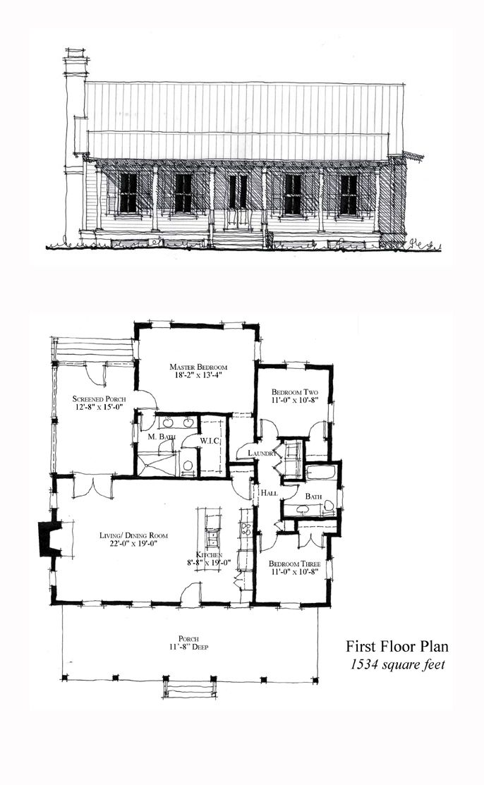 Elegant Carolina COOL House Plan ID: Chp 49771 | Total Living Area: 1534 Sq