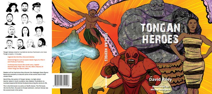 Tongan Heroes is the third book in the Pasifika Heroes series. It follows We Are the Rock (Niuean) and Samoan Heroes.  The book will feature short profiles of achievers with Tongan ancestry. It will include legendary characters like Tangaloa and Muni, historical figures like Queen Salote, and contemporary heroes like Jonah Lomu, Valerie Adams and Konai Helu Thaman.   Tongan Heroes will be launched in August 2016