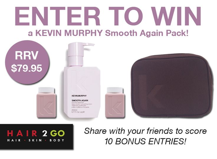 WIN a KEVIN MURPHY Smooth Again Pack valued at $79.95!  Includes a KEVIN MURPHY Smooth Again Leave-In Treatment 200ml, KEVIN MURPHY Angel Wash 40ml, KEVIN MURPHY Angel Rinse 40ml and KEVIN MURPHY Cosmetic Bag.  Enter now: http://gvwy.io/6x58t3