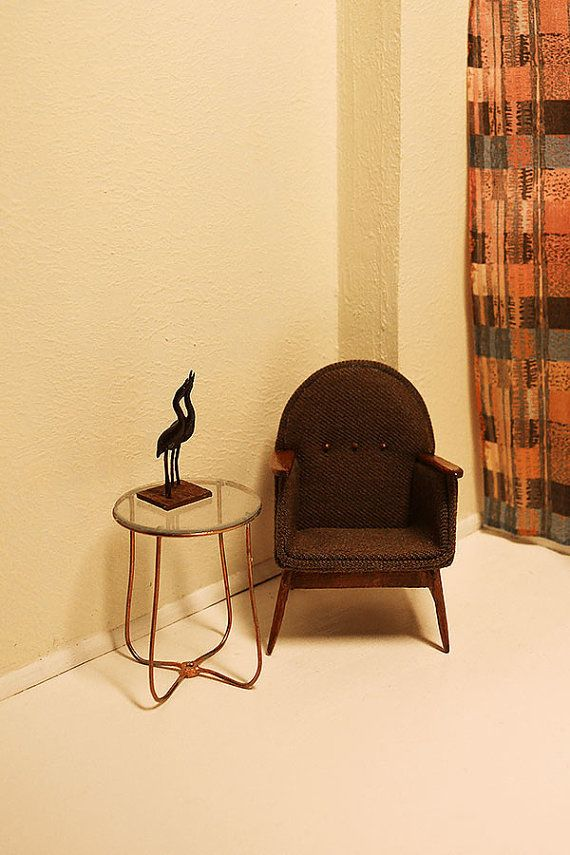 Brown armchair for dollhouse 1/12 Dollhouse Miniature от Galchi