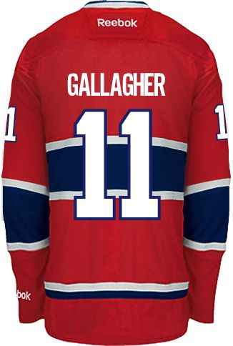 Montreal Canadiens Brendan GALLAGHER #11 Official Home Reebok Premier Replica NHL Hockey Jersey (HAND SEWN CUSTOMIZATION)