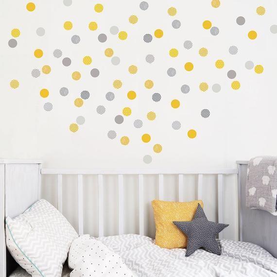 Autocollants Jaunes Et Gris De Mur De Pois Idee Chambre Enfant Stickers Chambre Bebe Et Chambre Bebe Garcon Jaune
