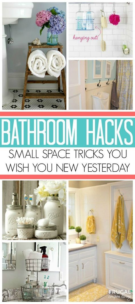Bathroom Storage Ideas for Small Spaces; solutions for your everyday family. Bathroom Hacks and Tricks you wish you knew yesterday. Tips on Frugal Coupon Living. #bathrooom #hacks #tips