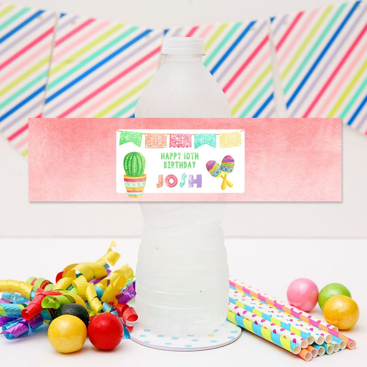Mexican Fiesta Drink Labels - Personalised Mexican Fiesta Water Bottle Labels for your Mexican Fiesta Party | Visit website to see details and for more matching party stationery from Print and Party.