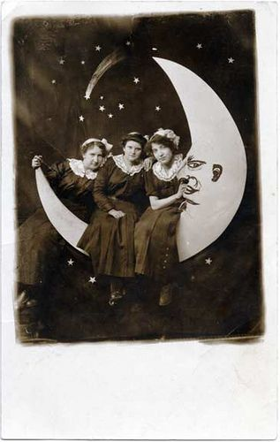 Three Young Ladies on a Paper Moon - Real Photo Postcard by Photo_History, via Flickr