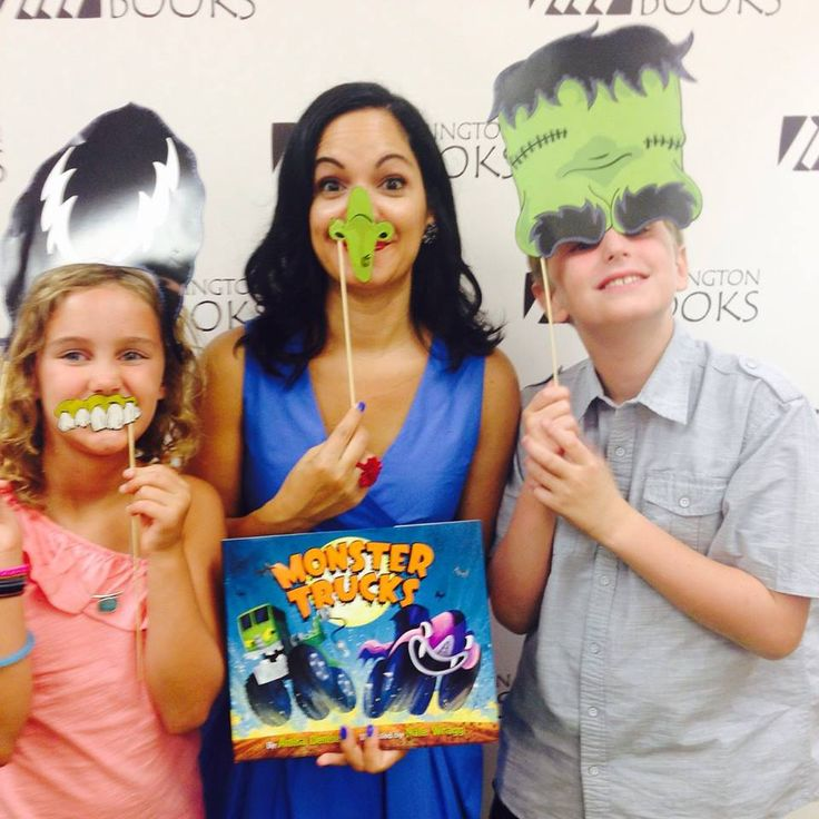 Fun in the photo booth at the Monster Trucks Book Launch bash with Allie and Jackson!