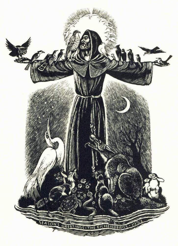 Fritz Eichenberg,Quaker Artist (1901 – 1990) St. Francis, Sermon to the Birds Wood engraving, 1952