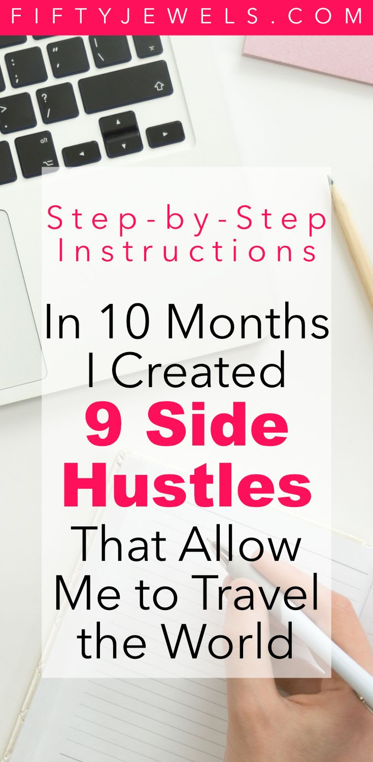 Passive Income is how I travel the world! Find out exactly how I created 9 Side Hustles that pay for my full time travel. #sidehustle #passiveincome #workfromhome #makemoneyonline