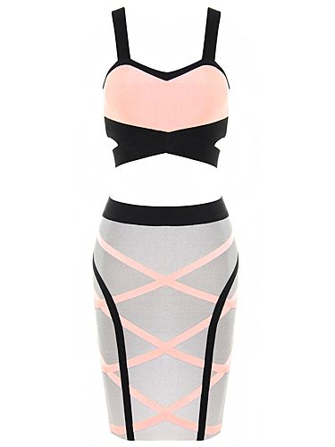 Two-Piece Black and Pink Sexy Bandage Dress . Shop Now At http://misscircle.com/collections/sale/products/two-piece-ink-black-and-salmon-pink-good-charms-bandage-dress