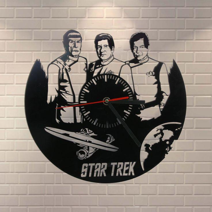 Free Shipping 1Piece Star Trek Gifts Laser Engraved Clock Wall Art Home Decor Star Trek Enterprise Communicator Exclusive Clock
