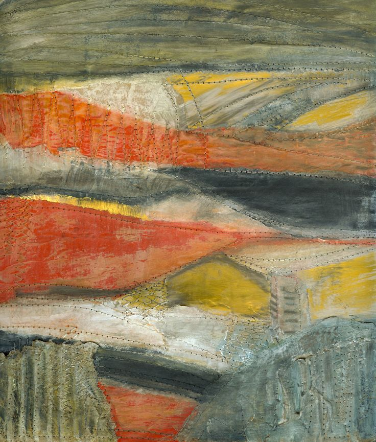 Abstract Landscape: Margaret Hage: collage in found papers and card, charcoal,graphite, acrylic and machine stitch
