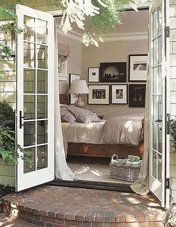 French doors to courtyard