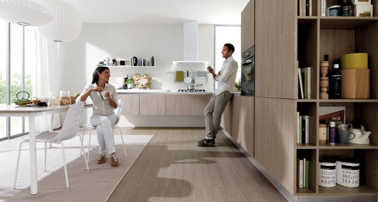 Practicality and versatility accessible to all. | Modern kitchens, functional and young. Euromobil has pursued and implemented a project ethical alternative where high aesthetic and innovative design does not exclude a budget accessible to all. This is how FiloEscape, kitchen with groove profile and Escape, the kitchen young and versatile.