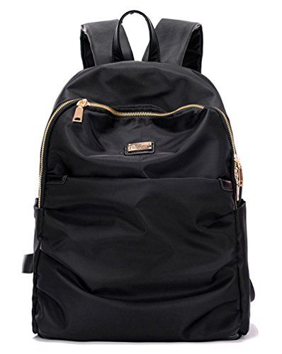 Water Resistant Nylon Backpack for Women  Teen Girls Boys Casual Bookbag College School Bags Black -- Find out more about the great product at the image link.