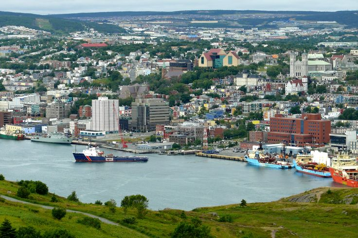 The harbour of St. John's Newfoundland from historic Signal Hill.