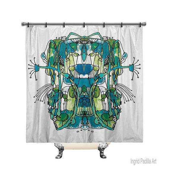 Funky Blue Shower Curtain, Shower curtain, Abstract art shower curtain, Funky, Art, Printed Fabric shower curtain, Bath Decor, Home Decor
