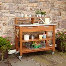 Home Styles Bali Hai Teak Finish Outdoor Server/Garden Potting  Bench Outdoor Garden Planters