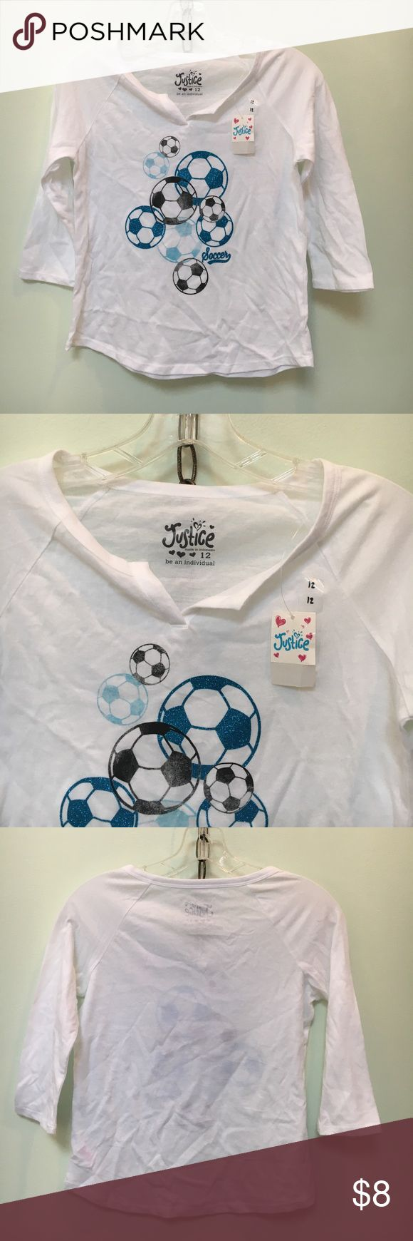 NWT Justice Shirt NEW Justice white 3/4 sleeve with glitter soccer balls. Justice Shirts & Tops