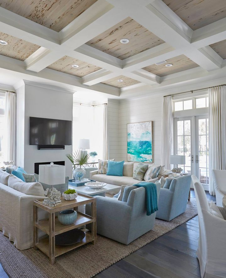 Coastal Living Room With Turquoise Accents