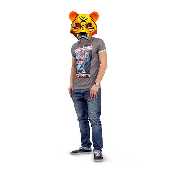 Сделать 3d маску Тигра из