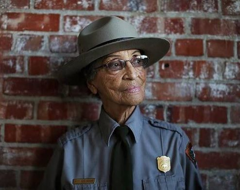 """Betty Reid Soskin, 92, oldest USNP Ranger. Born in Detroit, worked at a segregated union hall during WWII, then ran a Berkeley record store that's still in business. Wrote civil rights and peace songs in the '60s, worked for state assemblywomen, helped develop the park where she is now a guide, """"Rosie the Riveter WWII Homefront National Historical Park."""" See http://www.sfgate.com/bayarea/article/Ranger-s-voice-spans-East-Bay-history-3201533.php#ixzz0eDQsu0bc"""
