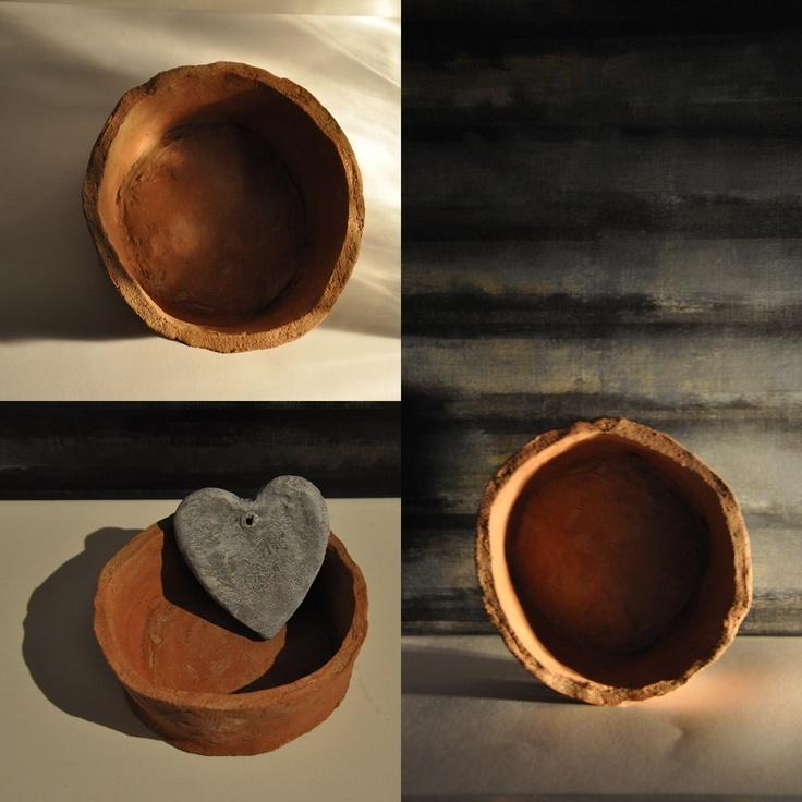 ceramic bowls 2 and heart; fired clay  by iza hazell