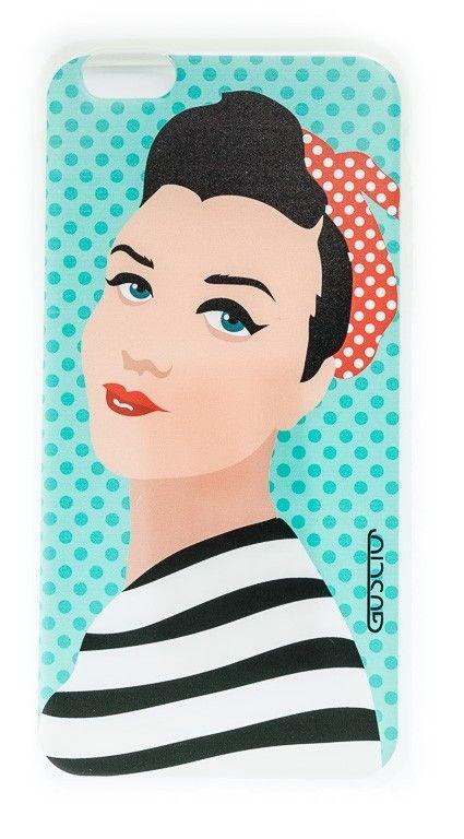 Apple iPhone6 plus Cover - Rockabilly Pin Up Girl im Rosie the Riveter Style  Die Zeichnung wurde vom italienischen Grafiker & Karrikaturisten Marco Calcinaro exklusiv für Guscio entworfen.