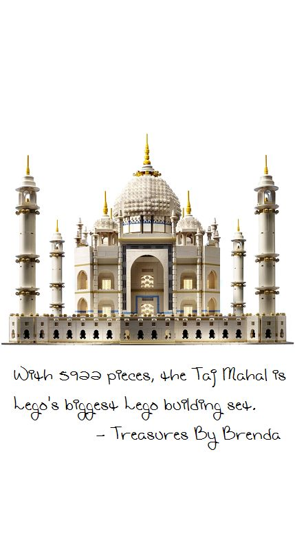With almost 6,000 pieces, The Taj Mahal is Lego's biggest building set. It is a suitable tribute to one of the magnificent wonders of the world recommended for individuals aged 14 and up.