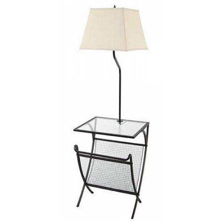 Magazine Rack Floor Lamp With Glass Table Restoration Bronze