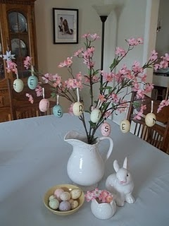 Even better than eggs hung from twigs - eggs hung from faux cherry blossom branches!