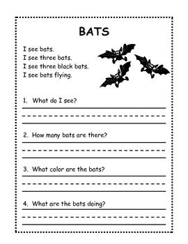Worksheets Reading Worksheets For 1st Grade 54 best images about bats activities for first second and third heres a free halloween reading worksheet grade if you like it theres an entire packet with many please click bel