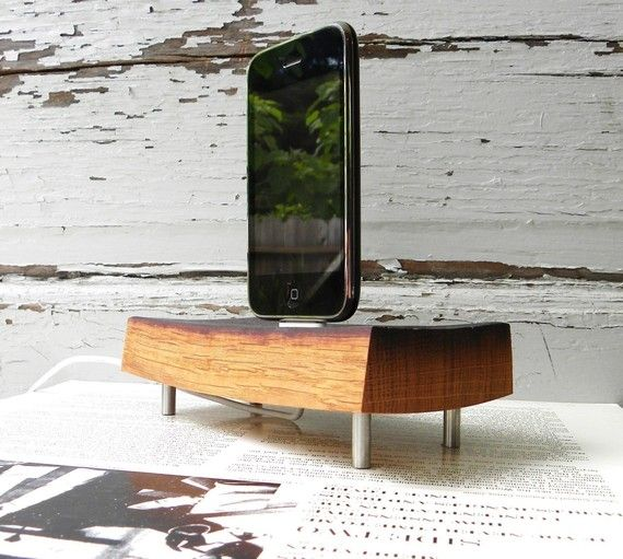 wood ipod and iphone dock charger reclaimed by SwedishGuyDesign, $75.00