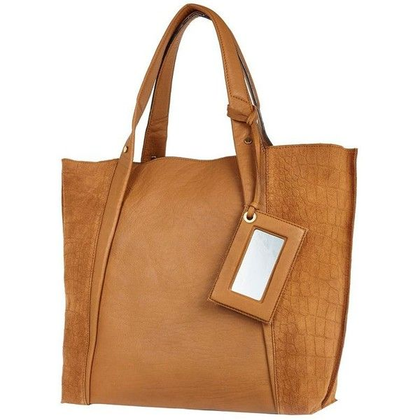 River Island Tan leather croc panel tote bag (€61) found on Polyvore
