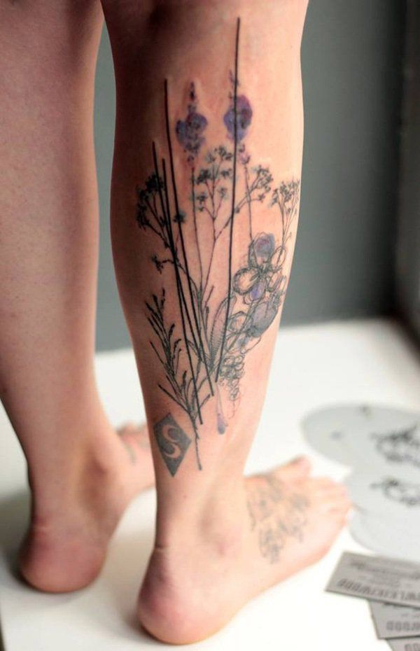 Calf is an attractive body area to get a tattoo on!