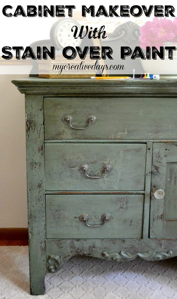 Cabinet Makeover With Stain Over Paint