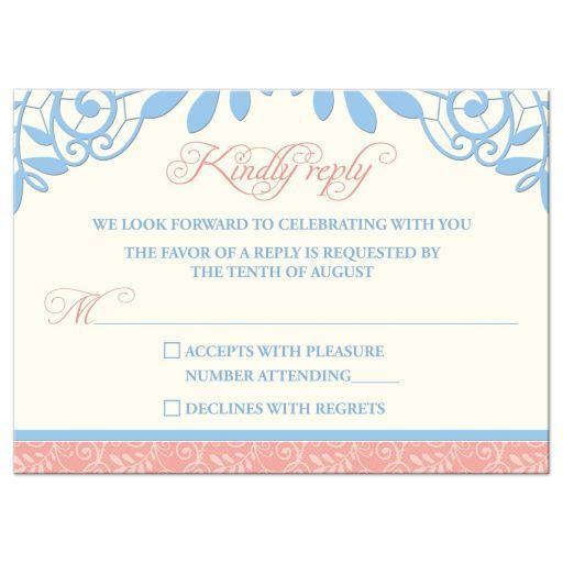 coral powder blue lace wedding rsvp card