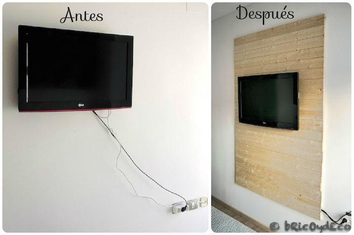 Con diferentes tablones, por ejemplo, de palets, podemos hacer un panel para el televisor decorativo, ideal para ocultar los cables.