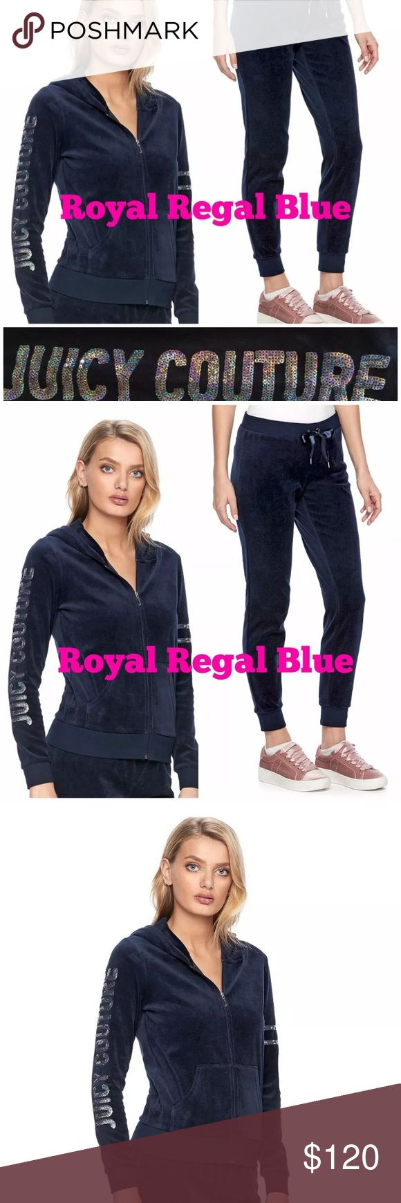 NWT Juicy Couture Tracksuit Regal Blue size Small HOODIE: Flaunt your signature Juicy Couture style in this women's velour hoodie jacket, featuring bold embellished details.  PRODUCT FEATURES Attached hood Embellished details 2-pocket Zip front Long sleeves Soft velour construction  Cotton, polyester Machine wash Imported  Jogger PANTS:  Create a relaxed look with these luxurious women's velour joggers from Juicy Couture.  PRODUCT FEATURES Ribbed trim Soft velour construction FIT & SIZING…